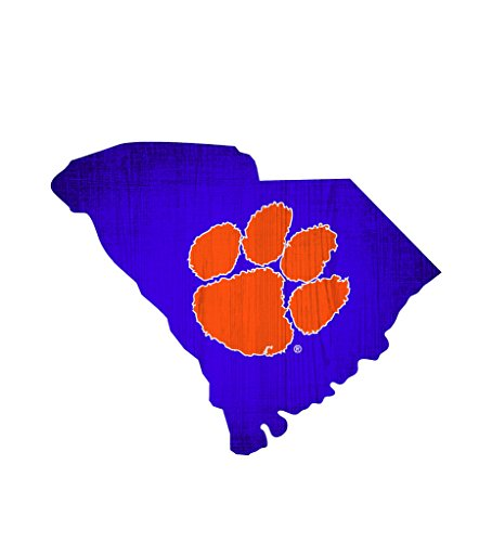 Fan Creations Clemson Tigers Wood Sign 12 Inch State Shape - Clemson Sign Wood