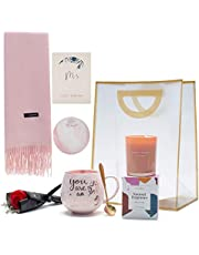 Birthday Gifts for Women - Best Gifts for Women,Mom, Her, Best Friend - Gift Set Includes Pink Marble Mug Set, Scarf, Scented Candle and Flower