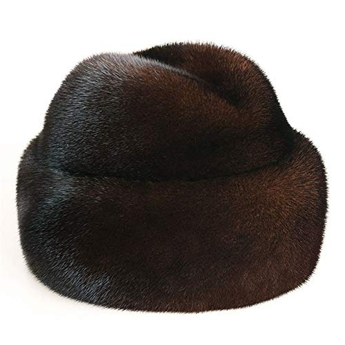Cossack Hat Mens (DELORESDKX Mink Fur Hat, Men's Russian Trapper Cossack Winter Warm Hat Ski Cap)