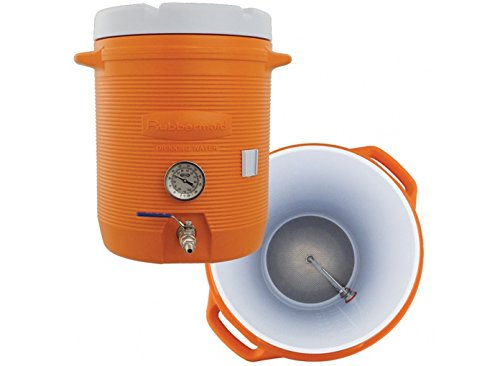 10 Gallon Cooler Mash Tun w/Thermometer