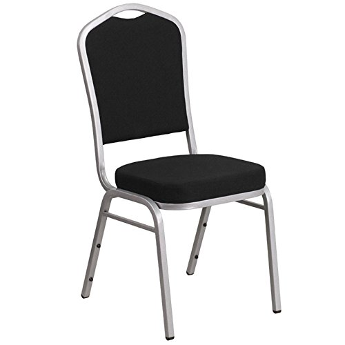 Flash Furniture HERCULES Series Crown Back Stacking Banquet Chair in Black Fabric - Silver Frame by Flash Furniture