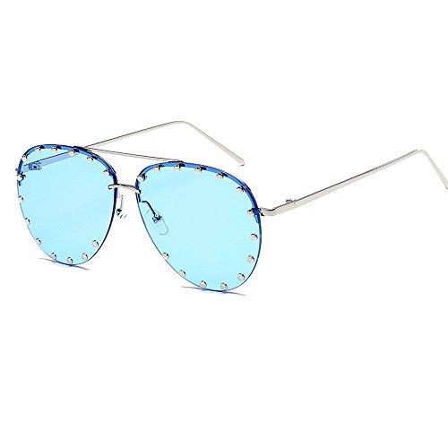Silver Transparent Frame (BVAGSS Women Rimless Oversized Sunglasses Colorful Lens Rivet Fashion WS027 (Silver Frame, Transparent Blue))