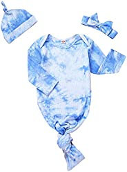 Verve Jelly Newborn Baby Tie Dye Print Long Sleeve Nightgowns Infant Sleeper Gown Ribbed Cotton Knotted Nightg