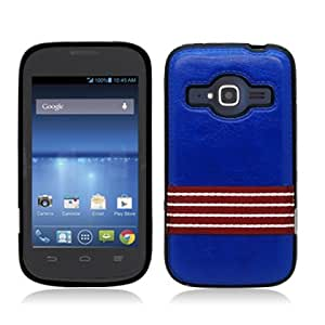 AIMO Luxury Fabric TPU Cover for ZTE Concord II Z730 [T-Mobile, MetorPCS] - (Red Ribbon - Blue)