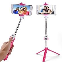 Fashion Bluetooth Remote Control Selfie Stick for Blu Vivo / Iphoe 7 / 7 Plus / HTC Desire Eye / One M7 / LG G Stylo / Motorola Moto G / Asus ZenFone 2 / Google Pixel / Nexus 6p (Hot Pink)