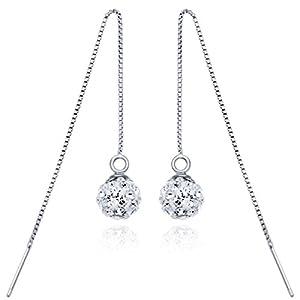 CASOTY 925 Silver Shamballa Austria Crystal Drop Beaded Threaded Dangle Earrings - w/ Free Gift Box