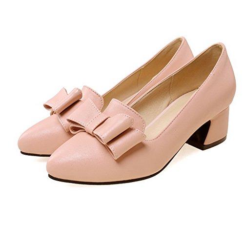 VogueZone009 Damen Ziehen auf Spitz Zehe Mittler Absatz Rein Pumps Schuhe Pink