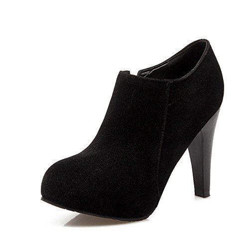 Black Round Ankle Boots Toe High Lucksender Womens Heel ZqWwvw0P