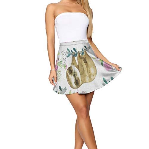 Girl Dress,Pink Rose Flower Sloth Watercolor Fashion Vine Skirt for Running Size:XL
