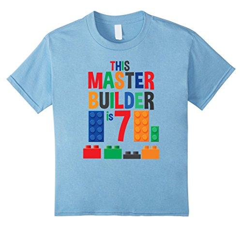 Kids Master Builder 7 Year Old Birthday Building Blocks T-Shirt 10 Baby Blue - Building Tee