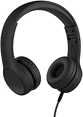 LilGadgets Connect+ Style Premium Volume Limited Wired Headphones with SharePort for Children/Kids (Black)