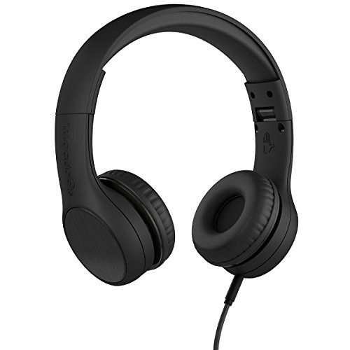 New! LilGadgets Connect+ Style Premium Volume Limited Wired Headphones with SharePort for Children/Kids (Black)