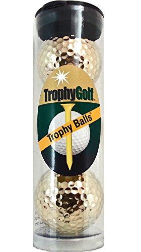 TROPHYGOLF 3 Shiny Golf Balls, Gold Gold Golf Ball