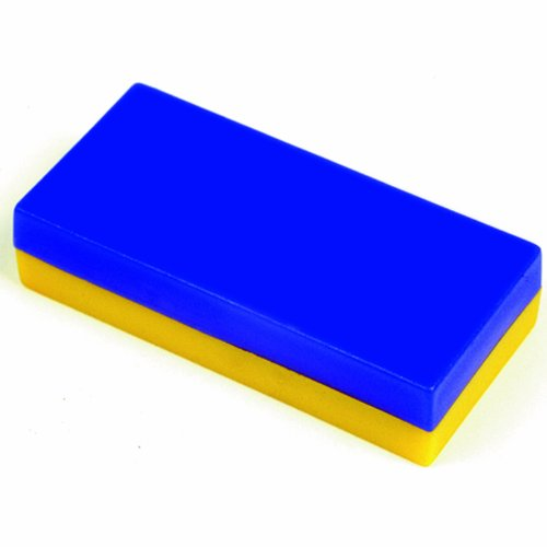School Specialty Plastic Encased Block Magnets - 1/2 in x 1 in x 2 in - Pack of 12 - Blue and Yellow