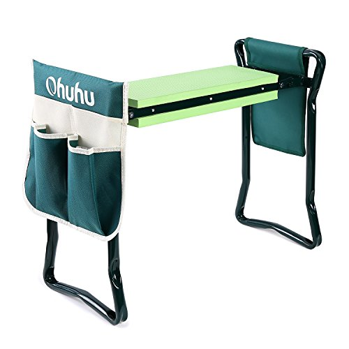Ohuhu Garden Kneeler and Seat with 2 Bonus Tool Pouch, 2-in-1 Folding Bench for Patio, Backyard Gardens (Cheap Garden Bench)
