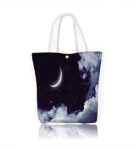 Canvas Zipper Tote Bag Peaceful night sky with moon beautiful clouds Reusable Canvas Zipper Tote Bag Printed 100% Cotton W21.7xH14xD7 INCH