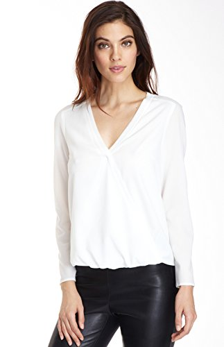 Cooper & Ella Women's Eat one's heart out Sleeve Crepe Flattering Faux Wrap V-Neck Alyssa Blouse, White, Small