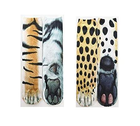 Polar Bear /& Zebra TA BEST 2 Pair Unisex Animal Paw Socks Novelty 3D Print Crew Paw Socks for Women Men boys girls