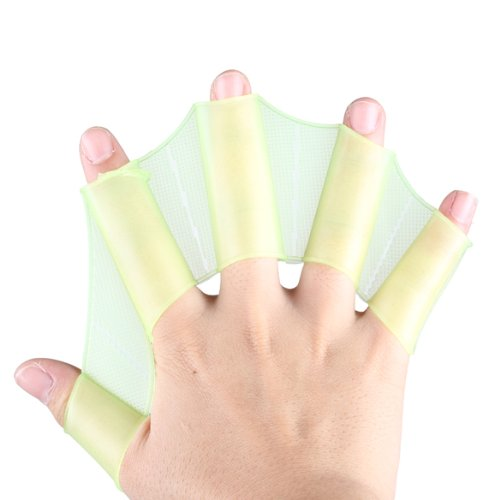 TTnight Hand Swimming Fins, Silicone Webbed Swim Gloves Flippers Gear Hand Paddles for Water Sports (Green, M) Webbed Feet