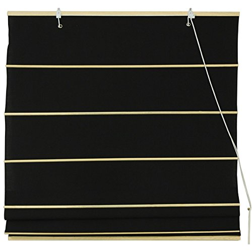 Oriental Shade - Oriental Furniture Cotton Roman Shades - Black - (72 in. x 72 in.)
