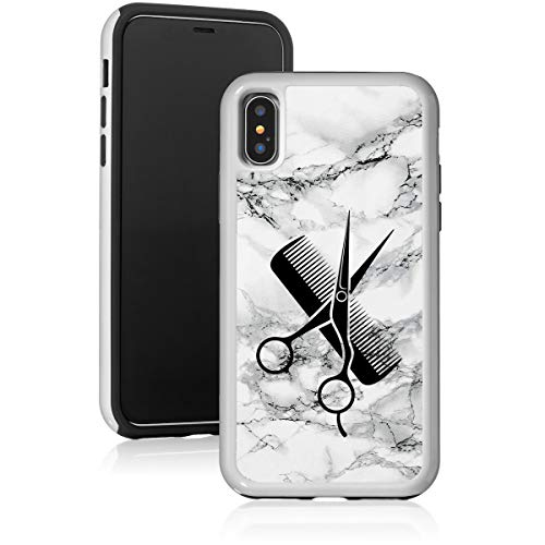 Marble Shockproof Impact Hard Soft Case Cover for Apple iPhone Hair Cutting Dresser Stylist Scissors Comb (Black, for Apple iPhone 7 Plus/iPhone 8 Plus)