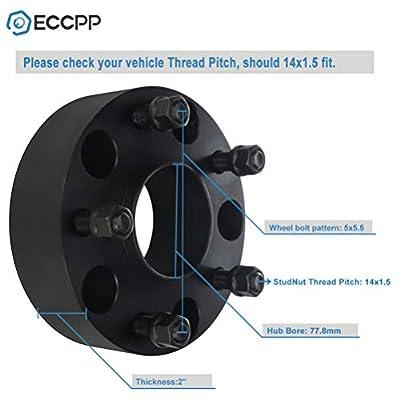 ECCPP 2X 2 5x139.7 Hubcentric Wheel Spacers 5x5.5 to 5x5.5 5 Lug 77.8mm 14x1.5 Studs fits for Dodge Dakota Durango Ram 1500: Automotive