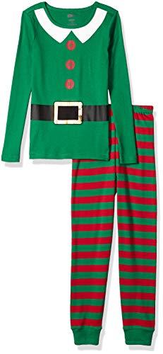 Crazy 8 Kids 2-Piece Long Sleeve Tight Fit Pajama Set, Santa's Helper Elf, 3T ()