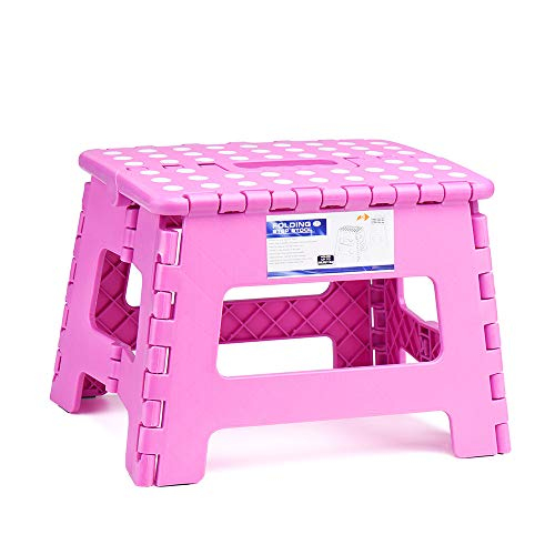 - Acko 9Inch Folding Step Stool - The Lightweight Step Stool is Sturdy Enough to Support Adults and Safe Enough for Kids. Opens Easy with One Flip. Great for Kitchen, Bathroom, Bedroom, Kids or Adults.
