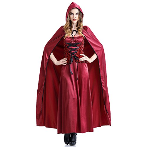 (Boleyn Little Red Riding Hood Costume Sexy Halloween Fairy Tale Dress for Women)