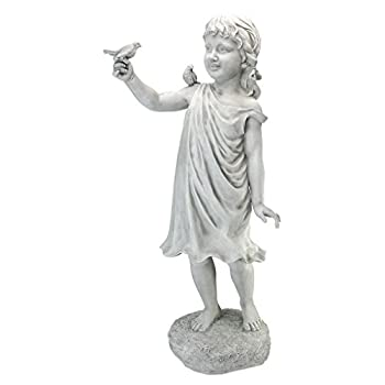 Design Toscano KY1467 Mary Frances and her Feathered Friends Garden Girl Statue, Antique Stone