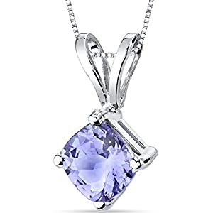 14 Karat White Gold Cushion Cut 1.00 Carats Tanzanite Pendant