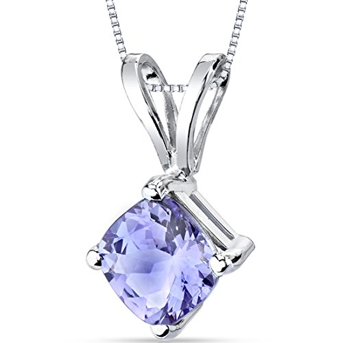 14 Karat White Gold Cushion Cut 1.00 Carats Tanzanite Pendant (Tanzanite Pendant)