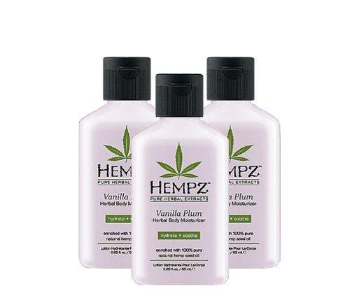 Hempz Vanilla Plum Herbal Mosturizer 2.25oz Pack of 3 - New