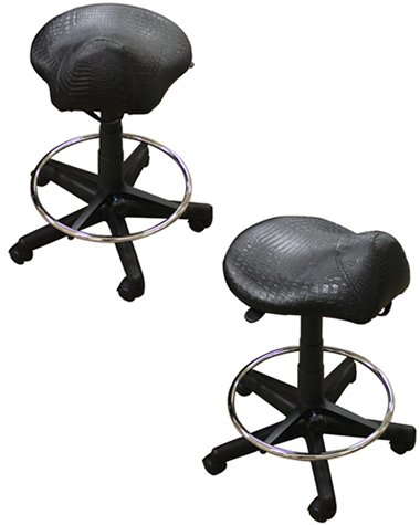 Kayline 812V CROC BLACK High-Rider Salon, Barber & Tatoo Saddle Stool + Free YS Park Chignon Clips ($13 value) by Pro Hair Tools