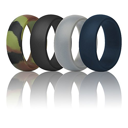 Silicone Wedding Ring Wedding Band For Men -4 Pack- Silicone Rubber Band Safe Flexible Comfortable Medical Grade - Fit for Sports, Outdoors+Gift Box Men - Biking And Swimming