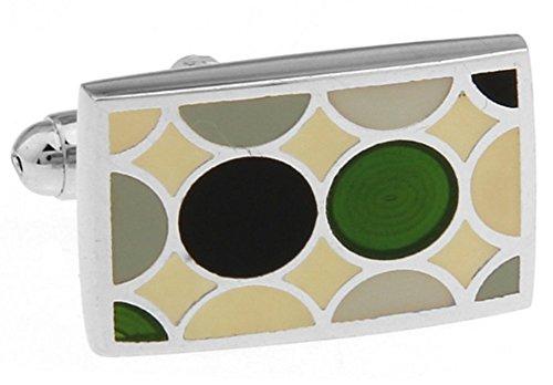Williams y Clark para hombre Executive Gemelos jardín azulejo verde y negro de lunares del rectángulo Gemelos