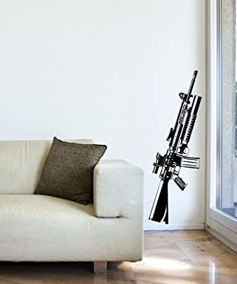 Military M16 Gun Wall Decal 14inX48in item #JH276s (BLACK color)