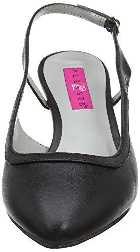 Pleaser Damen Kitten-02 Sling Backs schwarz(Blk Faux Leather)