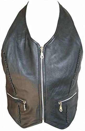 Allstate Leather Ladies Lambskin Leather Halter Top with Braid & Silver Zippered Front 3XL Black