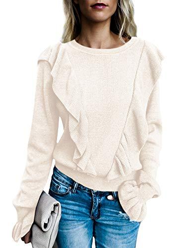 Womens Crew Neck Rib Ruffle Front Puff Long Bell Sleeve Sweaters Crop T Shirt Fall Clothes Tops (Medium, ()