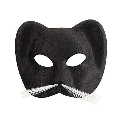 Ptit clown 10420 - Máscara de gato, tejido suede, color negro