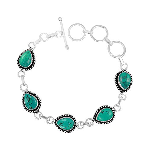 Genuine Oval Shape Turquoise Link Bracelet 925 Silver Plated Handmade Vintage Bohemian Style Jewelry for Women