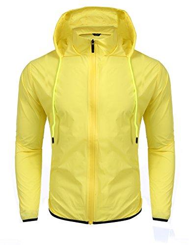 b5ddbb1f3 Coofandy Unisex Lightweight Hooded Running Cycling Rain Jacket Outdoor  Raincoat, Yellow, XX-Large