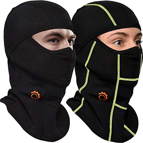 Face Mask Motorcycle Balaclava (Black/Green + Black - 2 Pack)