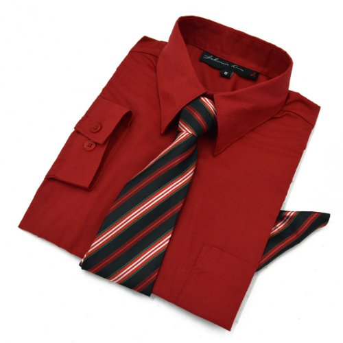 Boys Dress Shirt with Tie and Handkerchief #JL26 (4, Red) by Johnnie Lene
