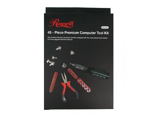 Rosewill Tool Kit RTK-045 Computer Tool Kits for Network & PC Repair Kits with Plier Hex Key Bits ESD Strap Phillips Screwdriver Bits & Socket Sets by Rosewill (Image #1)