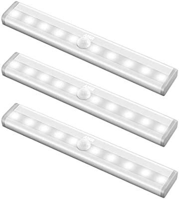 #1 3 Pack Under Cabinet Light 24-LED DIY Motion Sensor Stick-on Anywhere Battery Operated Portable Wireless Night Light Bar with Magnetic Strip for Stairs//Step//Closet