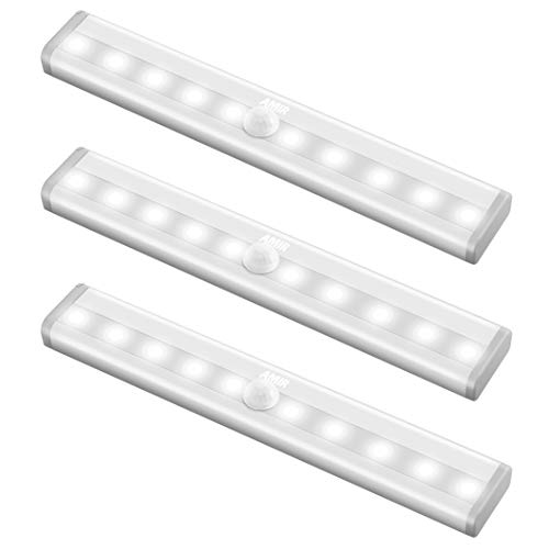 NEW VERSION AMIR Motion Sensor Lights, 10-LED DIY Stick-on Anywhere Battery Operated Portable Wireless Cabinet Night/ Stairs/ Step/ Closet Light Bar with Magnetic Strip (White, 3 Pack)