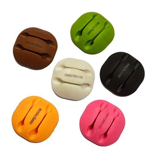 MXtechnic Kabelhalter Selbstklebend 6 Stücke Kabelclips von Doppelkanal Kabelführung für Schreibtisch in 6 Farben