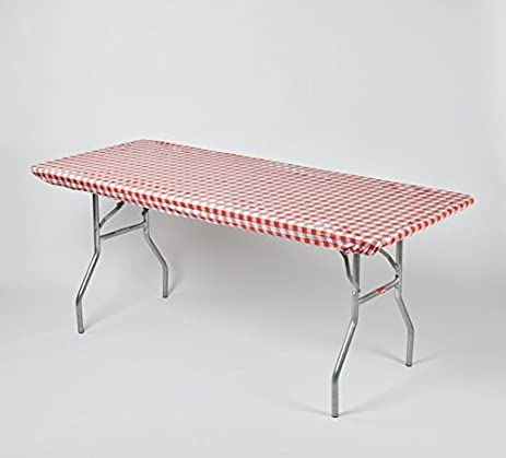 """Kwik-Covers 6' Rectangle Plastic Table Covers 30"""" x 72"""", Bundle of 5 (Red and White Check Gingham)"""